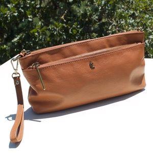 Elliott Lucca Cognac Leather Clutch Wristlet Bag